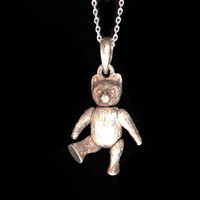 Sterling Jointed Bear Pendant and Necklace Chain - Silver Figural Vintage Jewelry