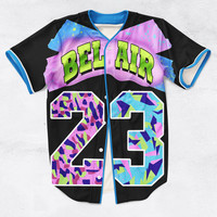 2 Colors Real AMERICAN USA Size Custom made Fashion 3D Sublimation Print Bel Air 23 - Fresh Prince Baseball Jersey Plus Size
