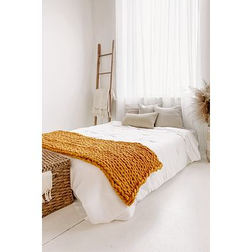 "50""x60"" Large Chunky Knit Throw Blanket (Mustard)"