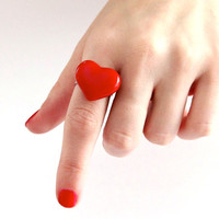 Valentines Day Red Heart Ring Handmade  -  adjustable ring, glass ring, statement ring, cocktail ring - handmade by StudioLeanne - 1 inch
