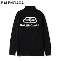 Balenciaga fashion lock letters logo turtlenecks sweaters are hot sellers for casual couples Black