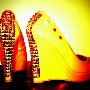 Street Chic Gold Studded Wedge Heels By Royal Bliss Art