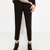 RELAXED FIT CREPE TROUSERS - Smart-TROUSERS-WOMAN | ZARA United Kingdom