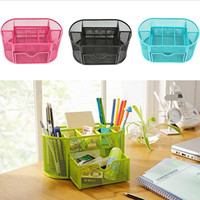 Multifuction 9 Cells Iron Metal Mesh Desktop School Home Office Zakka Desk Organizer Stationery Pen Pencil Holder