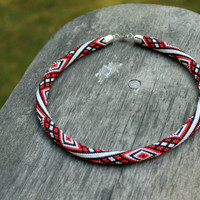Rope necklace colorful - red, white, black beaded necklace - geometric necklace - classic color charm - handmade jewelry.