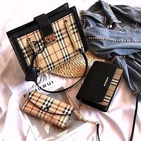 BURBERRY Retro Check Women's Handbag Shoulder Crossbody Bag Three-Piece Set