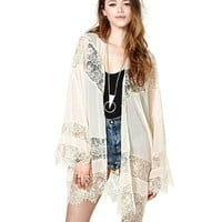 Gypsy Women Vintage Hippie Boho Kimono Cardigan Lace Crochet Jacket Tops Blouse (M)