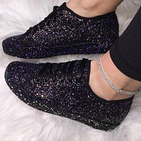 Quality Casual Breathable Bling Lace Up Sneakers