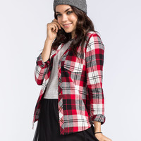 Polly & Esther Logan Womens Flannel Shirt Red  In Sizes