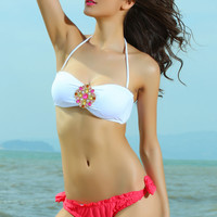 White Jewelled Bikini Top with Red Ruched Buttom