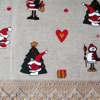 "Linen Table Runner Tablecloth Rudolf Reindeer Christmas Holiday Linen Lace 29.5"" x 18.5"""