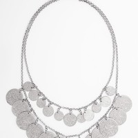 BP. Double Coin Row Statement Necklace (Juniors)