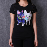 Winter and Spring women cotton printed cartoon rhinestone Tshirt