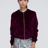Burgundy Velvet Long Sleeve Bomber Jacket
