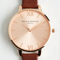 Luxe Time Floats By Watch in Brown Rose Gold - Big by Olivia Burton from ModCloth