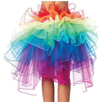 Sexy Women's Rainbow Color Skirts Pretty Mesh Tutu Skirts Costume Ball Party Wear Petticoat Tutu Skirt Underskirt Fancy Skirt