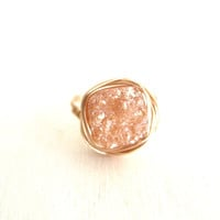 Champagne Druzy Ring Vitrine Cocktail Jewel Square Bezel ring Gift for her Under 50 Summer Fashion