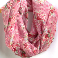 Flowers Infinity Scarf. Pink Circle Scarf. Tube Scarf. Women Accessory.
