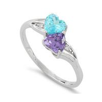 Sterling Silver Simulated Blue Topaz & Simualted Amethyst Heart Ring