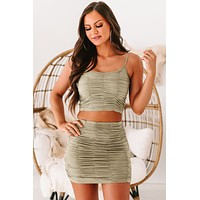 Delainey Ruched Crop Tank Top (Light Olive)