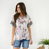 Dusty Blue Floral with Leopard Ruffle Sleeve Top