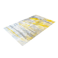 "CarolLynn Tice ""Abstraction"" Grey Yellow Woven Area Rug, 4' x 6'  - Outlet Item"
