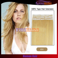 #24 Blonde Human Hair Straight Tape in hair extensions