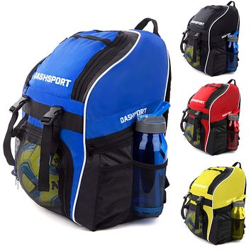 Soccer Backpack - Basketball Backpack - Youth Kids Ages 6 and Up - with Ball Compartment - All Sports Bag Gym Tote Soccer Futbol Basketball Football Volleyball Blue