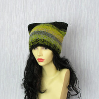Cat Ear Beanie, Cat Hat, Cat Beanie, Cat Beanie Hat, Faux Fur Hat Hand knit hat womens - Cat in COLORFUL