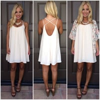 Sweet Perfection Cross Back Dress - CREAM