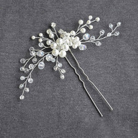 Bridal hair pin, wedding hair pin, pearl hair pin, wedding headpiece, bridal headpiece, bridal hair piece, crystal hair pin, silver hair pin