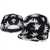 Dope Black & White Leaf - 5 Panel Huf Hat