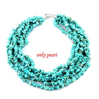 Chunky Turquoise Mini Nugget Necklace - Multi Strand Turquoise Big Bold Statement Necklace (TN-0368)