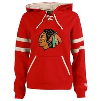 Chicago Blackhawks Old Time Hockey Women's Grant Lace-Up Slim Fit Hoodie - Red