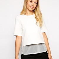 ASOS Textured Top with Sheer Inserts