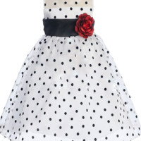 White Satin & Black Polka Dot Crystal Organza Occasion Dress 0-24M