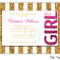 Gold and Pink Glitter Striped Printable Baby Girl Shower Invitation