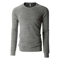 PREMIUM Mens Basic Soft Fleece Raglan Long Sleeve Crewneck Sweatshirt (CLEARANCE)