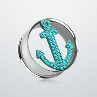 Anchor Dock Tiffany Inspired Tunnel Ear Gauge Plug