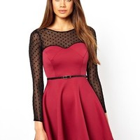 Oh My Love Belted Skater Dress at asos.com