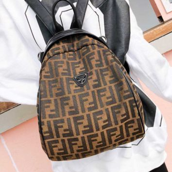 Fendi High Quality Fashion New More Letter Leather Backpack Bag Women Coffee