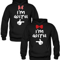I'm with her I'm with him mickey & minnie Sweatshirt Love Couple Hoodies