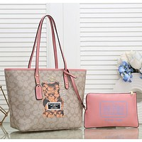 COACH Women Fashion Leather Handbag Clutch Cag Satchel Set Two Piece