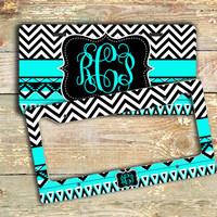 Gift for women, cute monogram license plate or frame - Aztec pattern and chevron in light turquoise and black - bike license plate (1292)