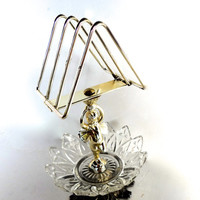 Vintage Towel Holder Toast Holder Mail Holder With Cherub Metal & Glass Some Wear