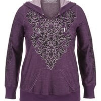 Plus Size - Maurices Premium Embellished Hoodie - Blackberry Cordial