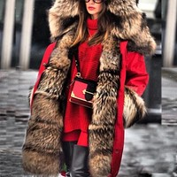 Thick Hooded Fur Parka Coat