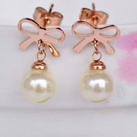 Bowtie and Pearl Earrings for Women | Six7th