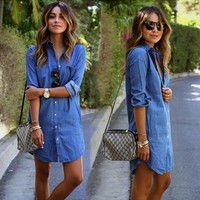 womens casual denim shirts autumn winter lady girls dress outwear gift 55