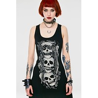 Gothic Three Wise Skulls See No Evil Black Slouchy Vest Tank Top